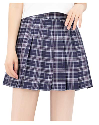 DAZCOS US Size Plaid Skirt High Waist Japan School Girl Uniform Skirts (Women XS, Black) -