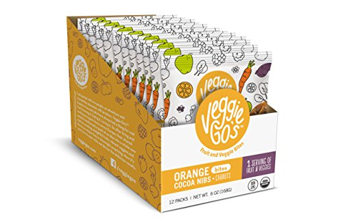 - Veggie-Go's Organic Fruit and Veggie Bites with No Added Sugar, Orange, Cacoa Nibs and Carrots, 12 Count