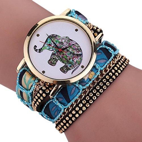 Pattern Rhinestone Diamond (Creazy Women Girl Rhinestone Elephant Pattern Quartz Bracelet Wrist Watch (BU))