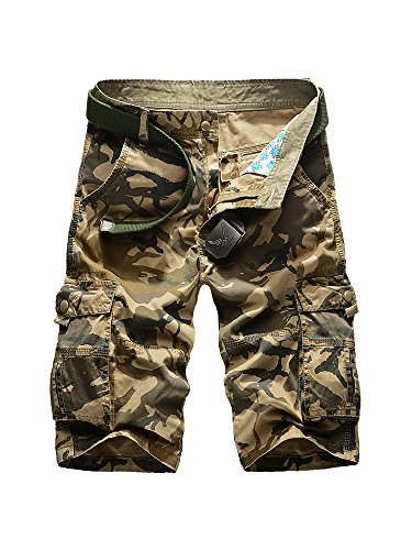 Men's Outdoor Camo Cargo Shorts Military-Style #66 Khaki Size 38 - US 36