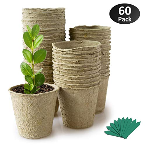 GROWNEER 60 Packs 2.4 Inch Peat Pots Plant Starters for Seedling, Biodegradable Herb Seed Starter Pots Kit, Garden Germination Nursery Pots with 25 Pcs Plant Labels