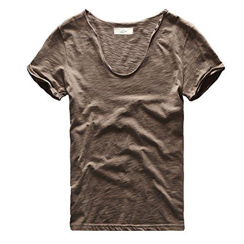 Zecmos Men's V Neck Slim Fit 100 Cotton T Shirts Color Khaki Size XL