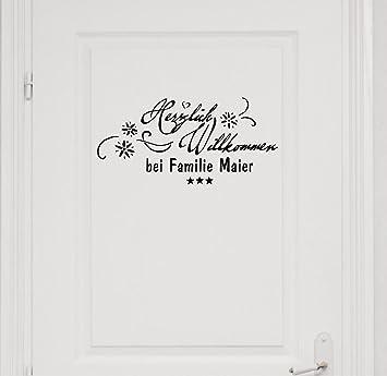 Wandtattoo Mit Namen, Nachname, Familienname ~ Herzlich Willkommen Bei  Familie ~ Türaufkleber, Eingang