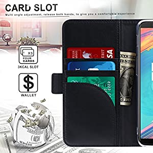 OnePlus 5T Case, FYY [RFID Blocking wallet] Genuine Leather 100% Handmade Wallet Case Credit Card Protector for OnePlus 5T Black