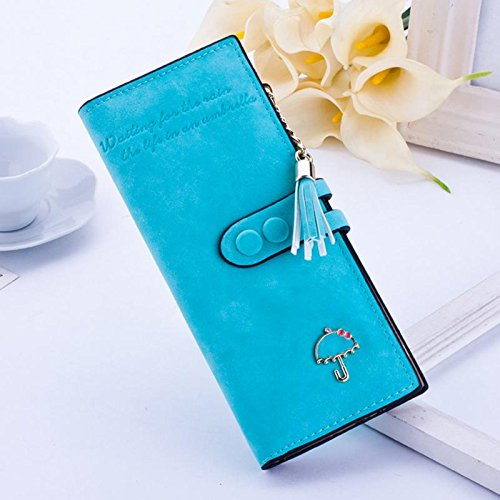 Blue Sky Carrier (JD Million shop 2017 Women Wallet Clutch Wallet Female Case Leather Carteiras Femininas Money Bag Purse Card Holder (Sky Blue))