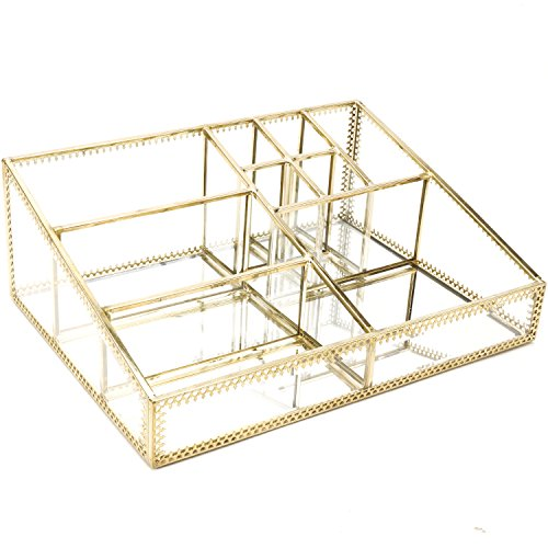 Hersoo Gold Mirrored Vanity Tray,Glass Makeup Display Organizer,Dresser Comestic Storage for Palette/Lipstick/Brushes/Skincare/Perfumes/Bathroom Accessories by Hersoo