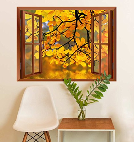 wall26 Modern Copper Window Looking Out Into a Yellow Tree Framing a Lake - Wall Mural, Removable Sticker, Home Decor - 24x32 inches