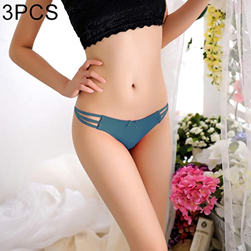 WANGJIANBOSEXYWEARS 3 PCS FunAdd Women Fashion Straps Cross Charm Thongs Underwear Low-Waisted Sexy Enticing Panties, Free Size (Black) (Color : Green)