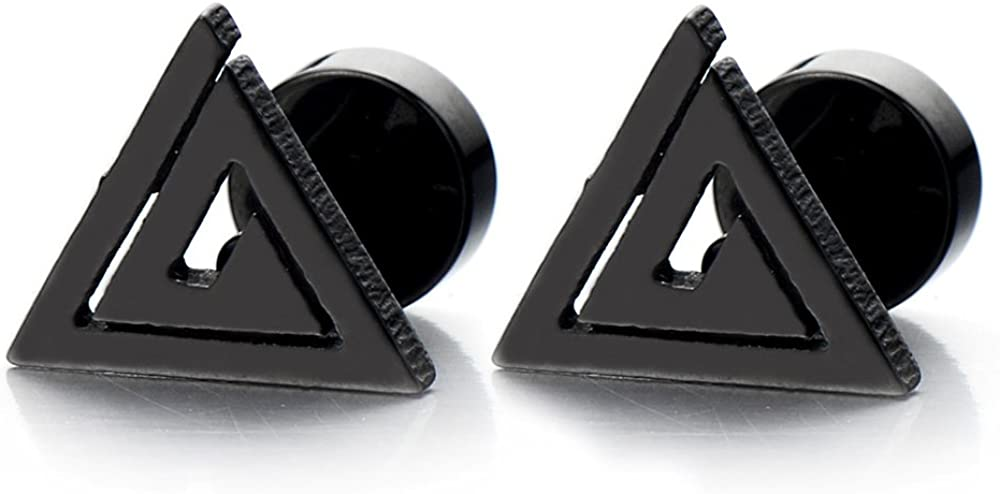 Stainless Steel Triangle Stud Earrings Unisex for Man and Women, Screw Back 2pcs