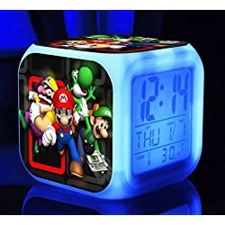 AThiToZone (arrive within 3-5 weeks). SUPER MARIO BROS 7 Colors Change Digital Alarm LED Clock Game Cartoon Night Colorful Toys for Kids (Style 8)