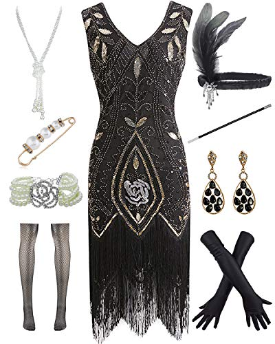 Women's Roaring 20s V-Neck Gatsby Flapper Dresses with Accessories Set (Large, Style 2 Black)
