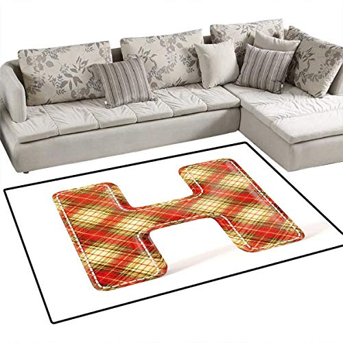 Letter H Door Mats Area Rug Old Fashion Cloth with Stitches Checkered Plaid Typography Image Bath Mat Non Slip 48