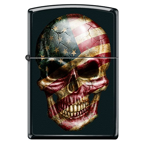 White Rainbow Butterfly Snap (American Flag Skull Face Black Matte Custom Zippo Windproof Collectible Lighter. Made in USA Limited Edition & Rare)