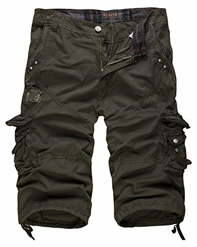 CIC Collection Men's Relaxed Fit Solid Long Cargo Shorts Capri Pants
