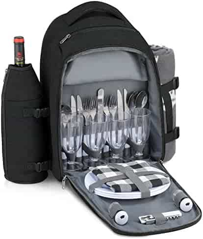 66b8cdd1eb Gonex Picnic Backpack Bag for 4 Person with Insulated Cooler Compartment