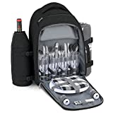 Gonex Picnic Backpack Bag for 4 Person with Insulated Cooler Compartment, Fleece Blanket, Detachable Wine Holder, Cutlery Set(Black)
