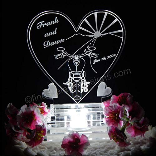 Motorcycle Heart LED Lighted Wedding Cake Topper Acrylic Biker Theme Personalized Engraved