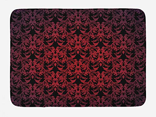 Lunarable Red and Black Bath Mat, Victorian Antique Old European Design Floral Swirls and Leaves Ombre Image, Plush Bathroom Decor Mat with Non Slip Backing, 29.5 W X 17.5 W Inches, Burgundy