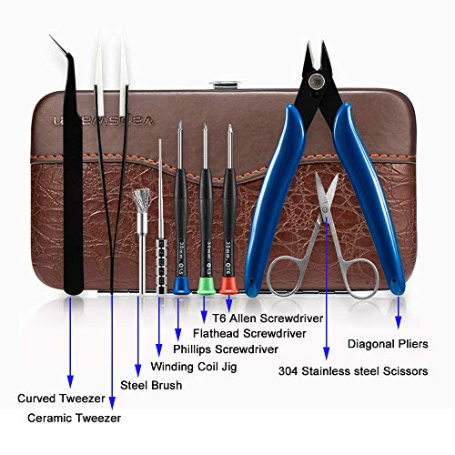 DIY Tool Kit for Home Repair or Tool Kit DIY RTA RDA RBA Building Coil Jig Allen Screwdriver Scissors Pliers Ceramic Tweezer Brush 9 in 1 Leather case