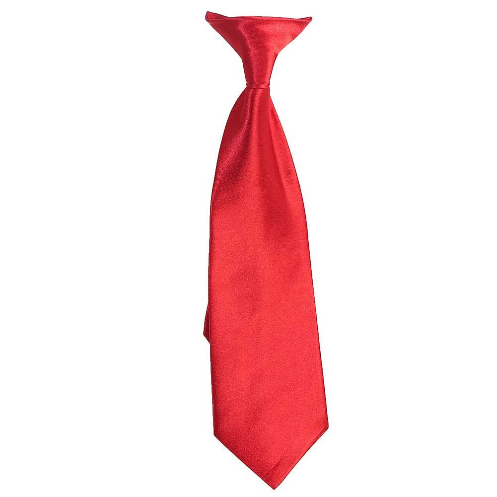Toddler Little Boys Red Satin Clip On Formal Wear 15inch Tie B-One