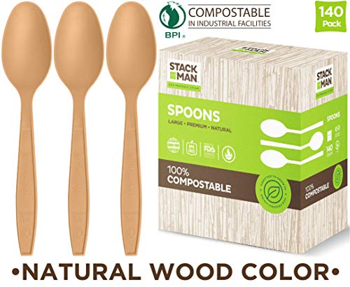Disposable Spoons 140 Pack 100% Compostable Plastic Silverware, Large Premium Heavy Duty Flatware Utensils, Eco Friendly Certified 100% Biodegradable Organic Natural Wood Color Tableware