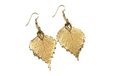 Real leaf earrings - Birch leaf in gold. Axi6f2