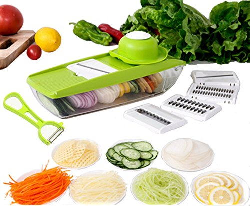 Edofiy Mandoline Slicer-Vegetable Grater Cutter For Potato Cucumber Onion Carrot With 5 Thickness Settings Interchangeable Stainless Steel Blade, Safety Food Holder,Vegetable Peeler