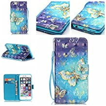 iPodTouch6thGen, [Credit Card Holder]3D PU Leather Fold Wallet Pouch Case case Premium Leather Wallet Flip Case for Apple iPod Touch (6th Generation) Case, iPod Touch 5th Case