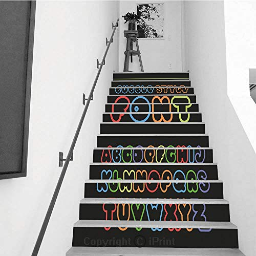 Stair Stickers Wall Stickers,13 PCS Self-Adhesive,Stair Riser Decal for Living Room, Hall, Kids Room,Colorful Cartoon Font Cute Vector Alphabet 1