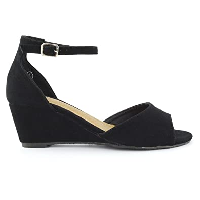 ESSEX GLAM Womens Low Wedge Heel Ankle Strap Sandals Ladies Peep Toe Party  Evening Shoes
