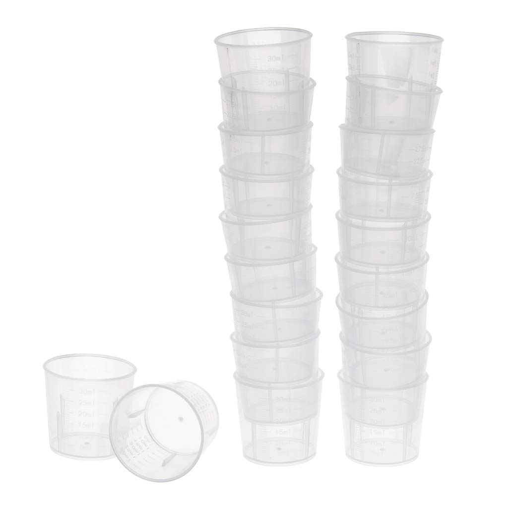 B Blesiya Pack of 20pcs 30ml Plastic Graduated Laboratory Lab Test Measuring Container Cups