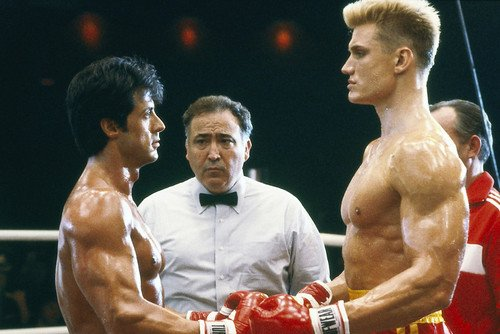 Sylvester Stallone and Dolph Lundgren in Rocky IV facing off