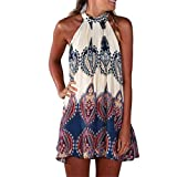 Women Dress,Haoricu 2017 New Summer Womens Chiffon Sleeveless Flower Party Loose Casual Beach Dress (L, Color 1)