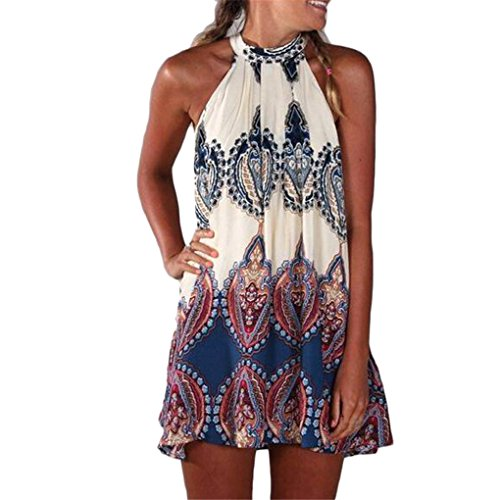 Buy haoricu Mini Dress, 2017 New Summer Womens Chiffon Sleeveless Flower Party Loose Casual Beach Dress (XL, Color 1)