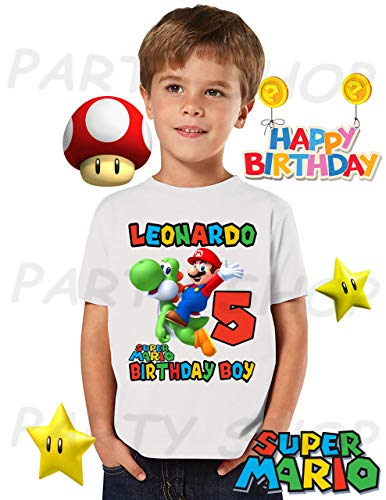 MARIO BROS and YOSHI Birthday Shirt, Mario Bros Birthday Party,ADD any name and age FAMILY Matching Shirts, Boys/Girls Birthday Shirts, Mario Bros Birthday Shirt, MARIO BROS UNISEX Shirt #2]()