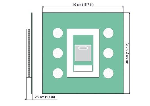 Specchio per Bagno ARTTOR M1CD-20-40x40 Specchio con Illuminazione Specchio LED Deluxe Specchio a Muro Interruttore tattile Dimensioni dello Specchio 40x40 cm Bianco Caldo 3000K