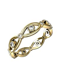 Infinity Loop Full Eternity Band Rings in 14K Gold with 0.2 Carat Diamonds and Band Width 4mm