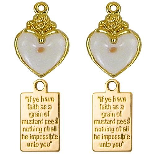 Heart Mustard Seed Charms with Message Plaques Gold 2 Sets