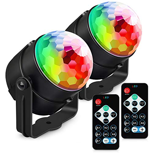 Party Lights Sound Activated, Petronius Disco Ball Strobe Light with Remote Control, Portable DJ Dance Lighting, 7 Colors RGB Lamp for Home Bar Karaoke Birthday Wedding Show Club Pub, 2-Pack by Petronius