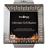 Fire & Fam Products Grill Basket - Large Grilling Basket for Vegetables, Fish, BBQ Shrimp - Heavy Duty Stainless Steel Grilling Accessories - Best Vegetable Grill Basket That Fits All Grills