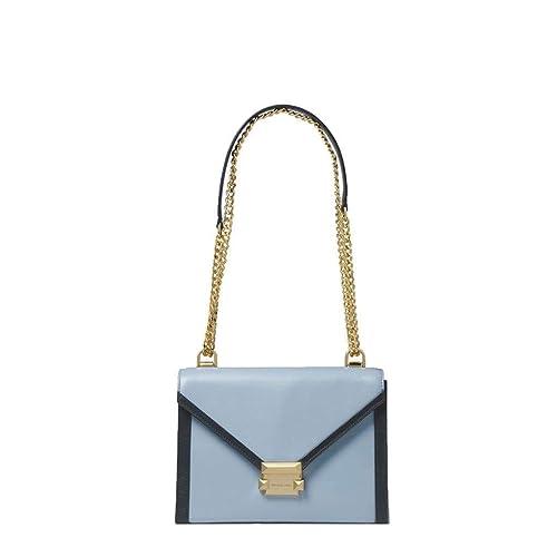 7cb6282c3b4e32 Michael Kors Whitney Large Pale Blue & Admiral Leather Shoulder Bag Blue  Leather