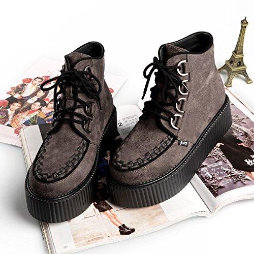 9149c6ceb89af4 ... RoseG Damen Schnürsenkel Flache Plateauschuhe High Top Creepers Boots  Grau ...