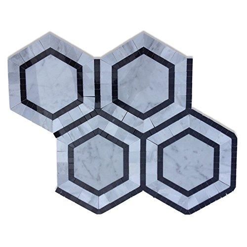 (Marble Mosaic Tile Stone Pattern. Metrology Series (5 Sheets, Carrara & Nero & Light Gray))