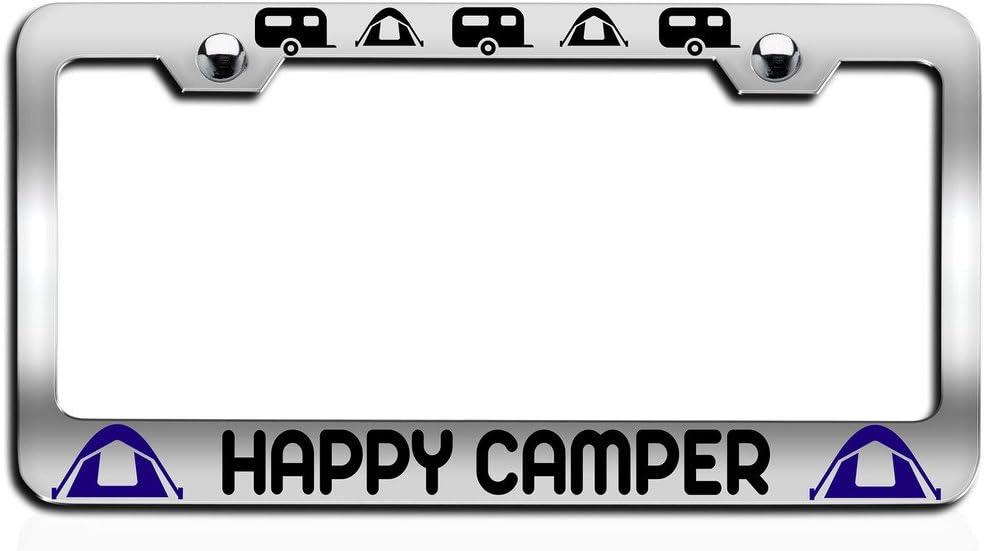 License Tag Holder Makoroni HAPPY CAMPER Camper Ch Steel License Plate Frame