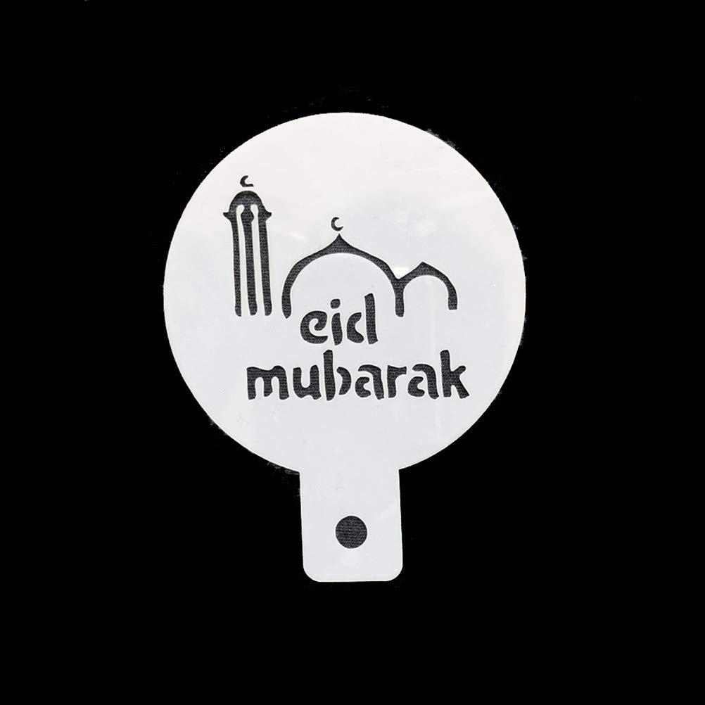 White Amosfun 6pcs Coffee Decorating Stencils Eid Mubarak Cake Stencils Islamic Ramadan Kareem Muslim Party Decors Supplies