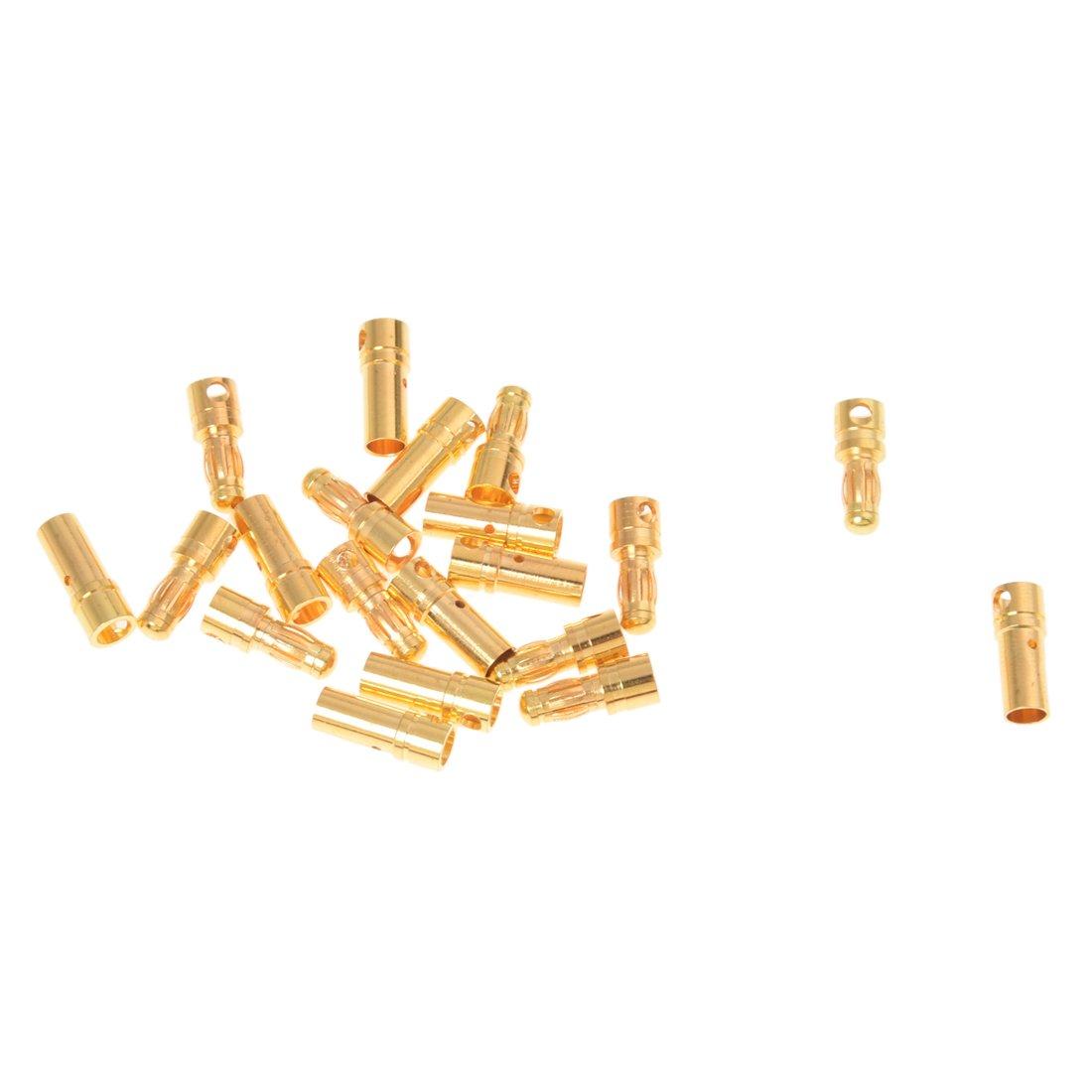 SODIAL(R) 10 Paia Connettori Spine Giallo a Banana Maschio Femmina 3, 5MM in Rame 026282