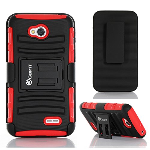 GearIt LG G3 Optimus Case - High Impact Hybrid Armor Dual Layer Cover Stand Holster (AT&T, Sprint, T-Mobile & Verizon Wireless) - Red