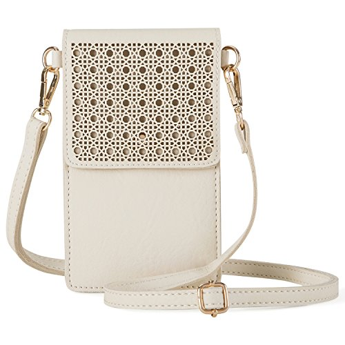 AnsTOP Lightweight Leather Pouch Small Crossbody Bag Cell Phone Purse Wallet with 2 Shoulder Straps for Women Beige