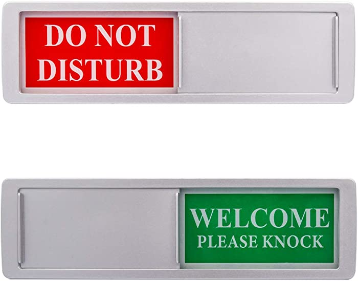 Privacy Sign - Do Not Disturb/Welcome Sign for Home Office Restroom Conference Hotel Hospital, Easy to Read Non-Scratch Magnetic Slider Door Indicator Sign with Clear, Bold & Colored Text - Silver