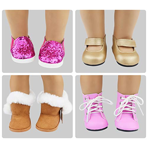 ZITA ELEMENT 8 Pairs of Amerian 18 Inch Girl Doll Shoes Slippers Sandals and 4 Pcs Necklace Fits American 18 Inch Doll Summer Shoes Matching Accessories for Girl Doll Clothes Dress Swimsuits